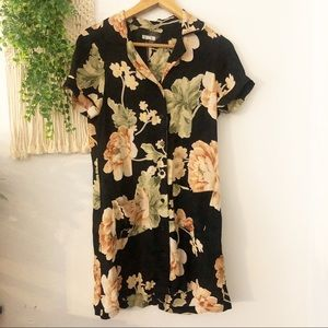 REFORMATION Floral Short Sleeve Button Down Dress